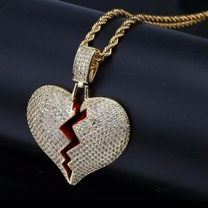 Gold Heart Broken Iced Out Pendant Necklace